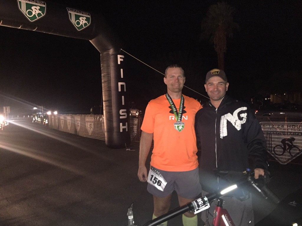 Rob and his crew chief Sean at the 24 Hour Worlds finish. Sean will be joining Rob's RAAM 2016 crew.