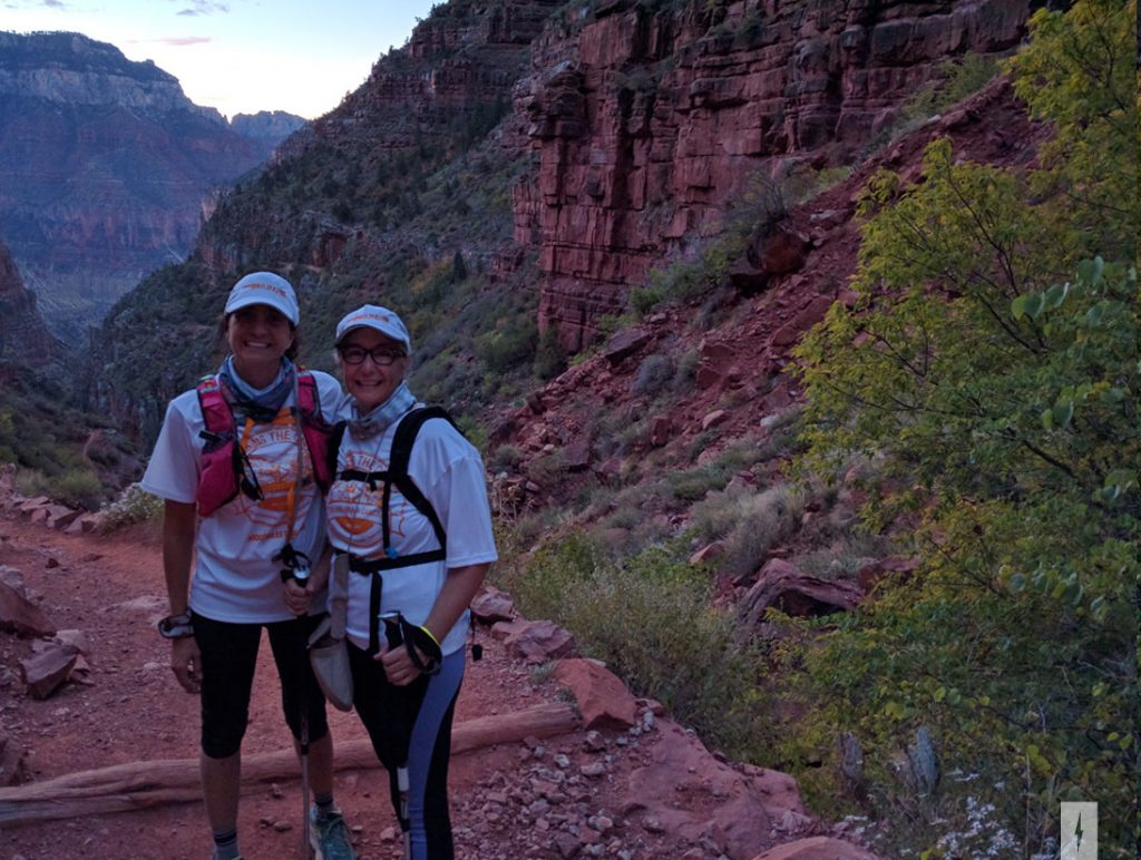 Maria and Anne stop for a photo early in the morning on the North Rim.